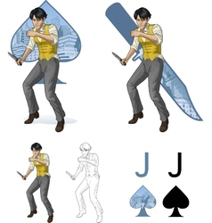Jack of spades asian brawling man mafia card set vector