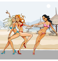 Cartoon beautiful girls in bikinis dancing vector