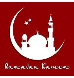 Ramadan kareem concept with mosque on a moon vector