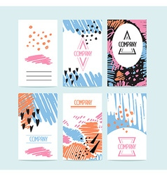 Hand drawn 6 cards with trendy textures and vector