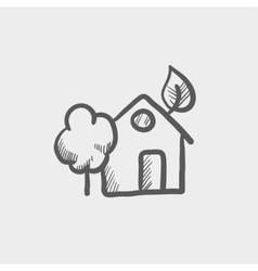 House with leave and tree sketch icon vector