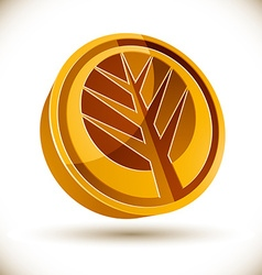 Autumn tree 3d round icon vector