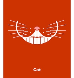 Cat smile on a red background teeth and wh vector image