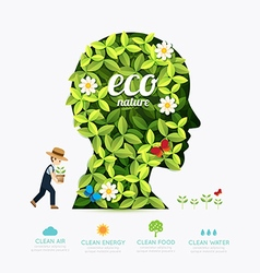 Ecology infographic green head shape with farmer vector