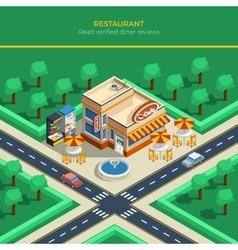Isometric city landscape with restaurant building vector