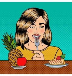 Woman choosing food between fruits and cheesecake vector