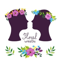 Floral wreath on the heads vector
