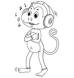 animal outline for monkey with headphone vector image vector image