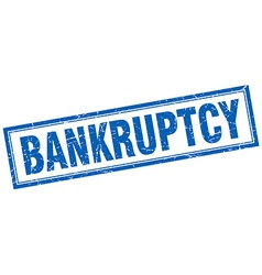 Bankruptcy blue square grunge stamp on white vector