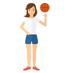 Basketball player spinning ball vector image vector image