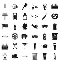 Beer drink icons set simple style vector