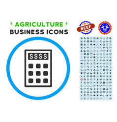 book-keeping calculator rounded icon with set vector image vector image