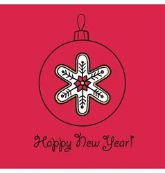 Christmas ball with snowflake vector