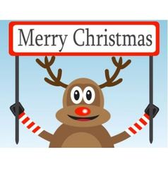 Christmas deer with a congratulatory poster vector image