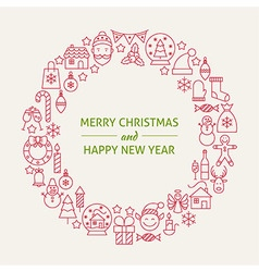 Christmas New Year Holiday Line Art Icons Set vector image vector image