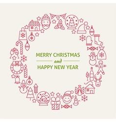 Christmas New Year Holiday Line Art Icons Set vector image