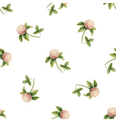 Clover flowers watercolor seamless pattern vector