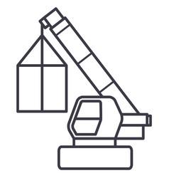 crane cargo logistics wrecker line icon vector image vector image