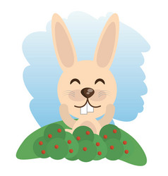 Cute rabbit animal winking vector