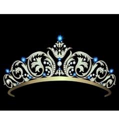 Diamond tiara with sapphires vector image