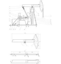 Drawing drive submersible oil pump plunger vector