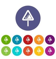 Falling rocks warning traffic sign set icons vector