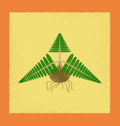 Flat shading style icon plant pteridium vector