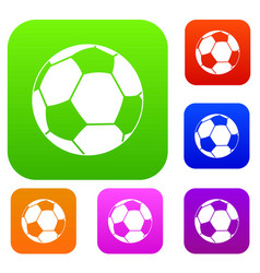 football ball set color collection vector image vector image