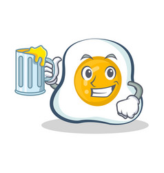 Fried egg character cartoon with juice vector