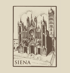 gotical church in siena tuskany italy old vector image vector image