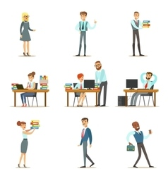Happy Office Employees And Managers Working In The vector image