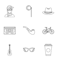 Hipster culture icons set outline style vector