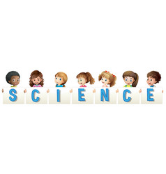 kids holding word for science vector image