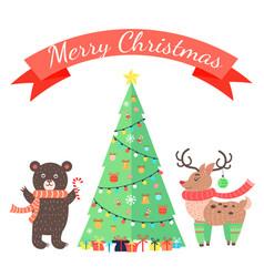 merry christmas greetings cartoon bear and deer vector image vector image