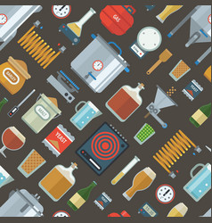 Pattern of home brewing factory production items vector