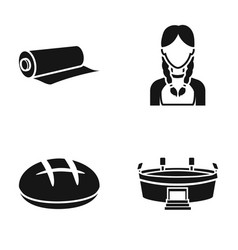 Roll of paper girl and other web icon in black vector