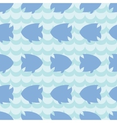 Seamless pattern with fish silhouettes on blue vector image vector image