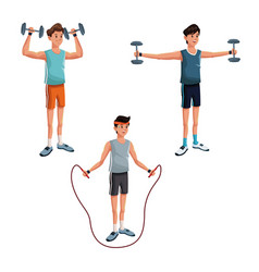 set man sport exercise active vector image