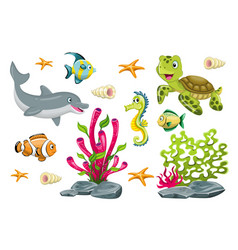 set of cartoon marine animals vector image