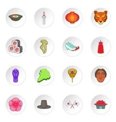 South korea icons set vector