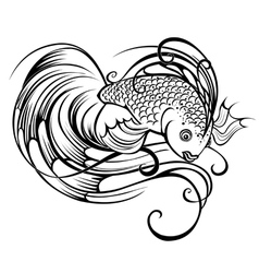 Stylized beautiful fish vector