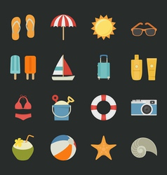 Summer vacation icons with black background vector