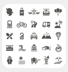 Travel and Transportation icon set vector image