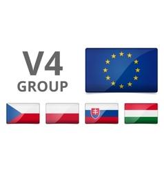 V4 visegrad group country flag vector