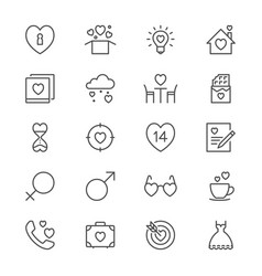 valentines day thin icons vector image