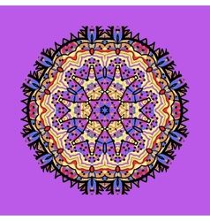 Violet seamless outlined mandala Unusual tribal vector image vector image