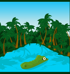 Wild crocodile in river in the jungle vector