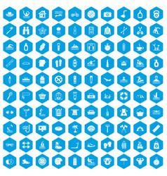 100 human health icons set blue vector