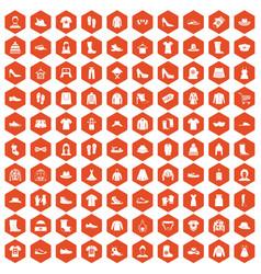 100 rags icons hexagon orange vector