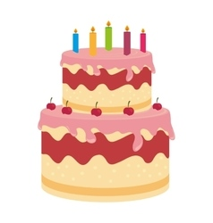 Birthday cake dessert candles cherry isolated vector